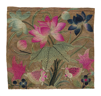 Cushion Cover, Pink Lotus and Fish Fine Art Print by Oriental School