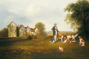 A Gentleman with his Dogs Print by Anonymous