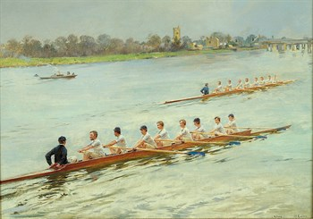 Eights Racing at Putney Print by Ferdinand Gueldry
