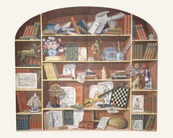 Trompe L'Oeil of a Bookcase Canvas Print by 19th Century European School