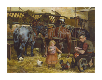 Feeding the Chickens Fine Art Print by Arthur Elsley