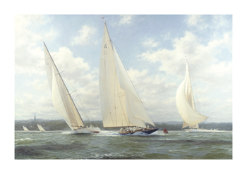 Endeavour leading Astra and Candida off Ryde, Isle of Wight, 1934 Fine Art Canvas Print by Steven Dews