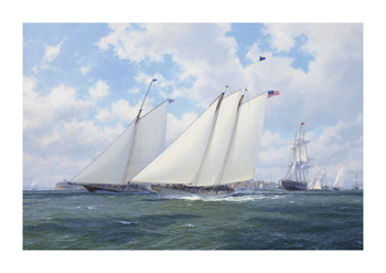 America racing Maria, New York 1851 Fine Art Canvas Print by Steven Dews