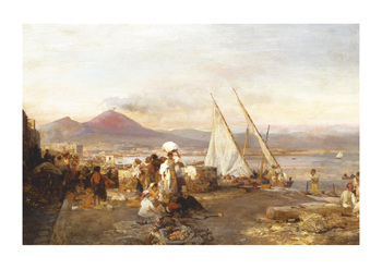 The Bay Of Naples With Mount by Oswald Achenbach Standard