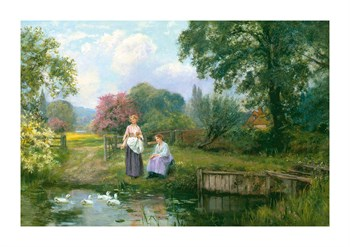 Feeding The Ducks Fine Art Print by Henry John King