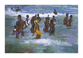 Sea Bathers Maracus Fine Art Print by Boscoe Holder