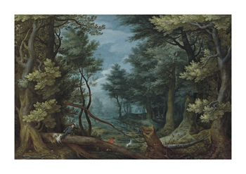 A Forest Landscape with Hunters Giving Chase to a Stag Fine Art Print by Pieter Bruegel the Elder