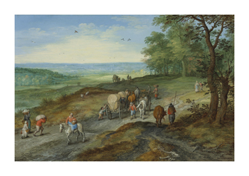 A Panoramic Landscape with a Covered Wagon Fine Art Print by Pieter Bruegel the Elder