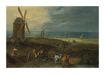 An Extensive Landscape With Travellers Before A Windmill Fine Art Print by Jan Brueghel the Younger