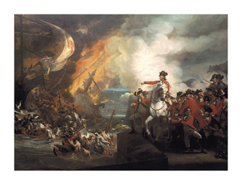 Defeat Of The Floating Batteries At Gibraltar Fine Art Print by John Singleton Copley