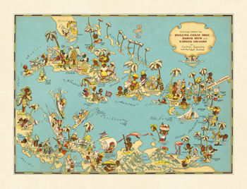 Caribbean Map: Sunshine and Happiness Fine Art Print by The Vintage Collection