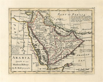 Arabia, Agreeable To Modern History, 1717 Fine Art Print by Herman Moll