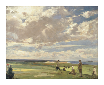 Lady Astor Playing Golf At North Berwick Fine Art Print by Sir John Lavery