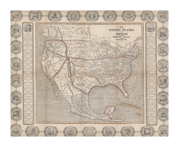 Map of the United States and Mexico Fine Art Print by The Vintage Collection