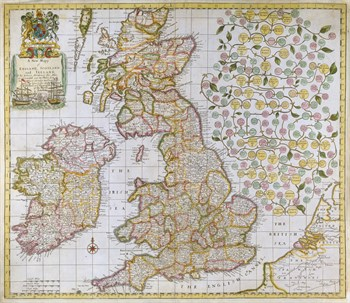A New Map of England, Scotland and Ireland, 1680 Fine Art Print by Robert Morden