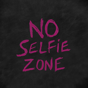 No Selfie Zone Print by Lottie Fontaine