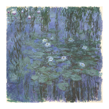 Blue Water Lilies Between, c.1916-1919 Fine Art Print by Claude Monet