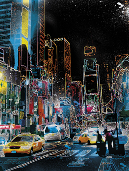 Downtown Lights Print by Tom Frazier