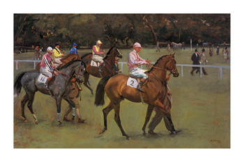 At the Races (Going Out at Kempton) Fine Art Print by Sir Alfred Munnings