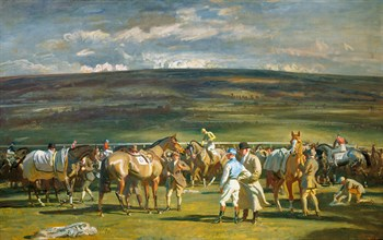 In the Saddling Paddock, March Meet, Cheltenham Print by Sir Alfred Munnings