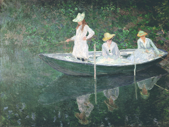 Boating At Giverny Print by Claude Monet
