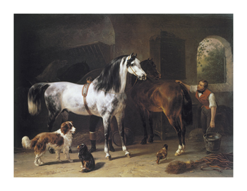 Grooming the Horses Fine Art Print by Wouterus Verschuur