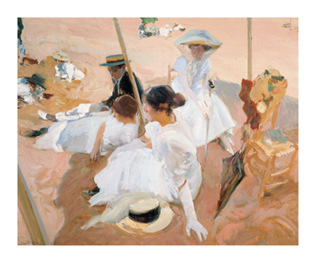 Under the Awning, on the Beach at Zarauz Fine Art Print by Joaquín Sorolla y Bastida