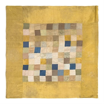 Embroidered Silk, Checkered on Gold Fine Art Print by Oriental School