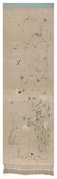 Embroidered Silk Banner, with Bamboo and Birds Fine Art Print by Oriental School