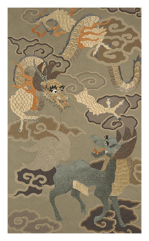 Embroidered Silk, Green and Gold Dragons Fine Art Print by Oriental School
