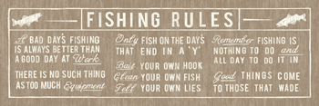 Fishing Rules Panelled Print by The Vintage Collection