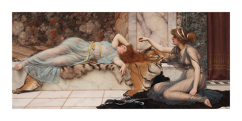Mischief and Repose Fine Art Print by John William Godward