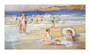 Beach At Biarritz Fine Art Print by Paul Michel Dupuy