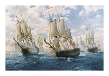 Battle of Chesapeake, 5th September 1781 Fine Art Canvas Print by Steven Dews