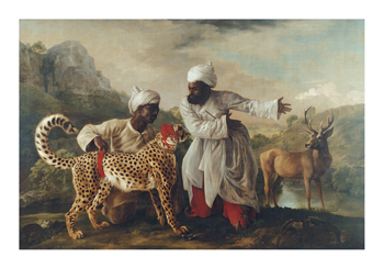 Cheetah and Stag With Two Indians Fine Art Print by George Stubbs