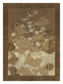 Embroidered Silk with Brown cranes and Lotus Flowers Fine Art Print by Oriental School
