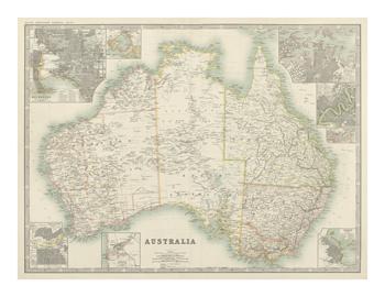 Australia Map 1880 Fine Art Print by Keith Johnston