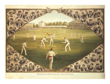 English and Australian Cricketers Fine Art Print by I.F. Weedon