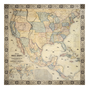 Map Of North America, 1853 Fine Art Print by Jacob Monk