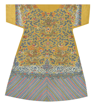 Embroidered Silk Robe, Dragons on Yellow, Back Fine Art Print by Oriental School