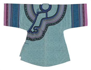 Embroidered Silk, Turquoise Robe Fine Art Print by Oriental School