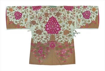 Embroidered Silk Robe, Pink Chrysanthemums, Back Fine Art Print by Oriental School