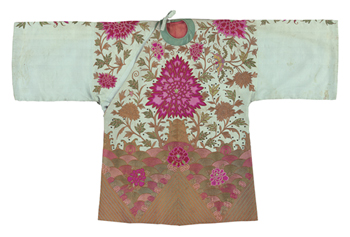 Embroidered Silk Robe, Pink Chrysanthemums, Front Fine Art Print by Oriental School