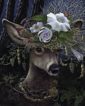 Datura Moon Hat Print by Carolyn Schmitz