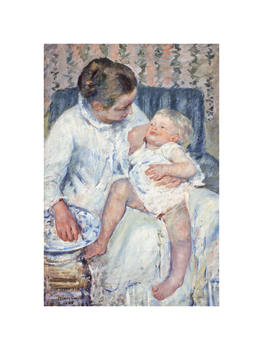 Mother About To Wash Her Sleepy Child,1880 Fine Art Print by Mary Stevenson Cassatt