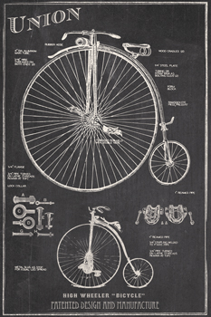 Antique Bicycles I Print by The Vintage Collection