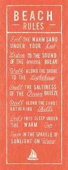 Beach Rules - Coral Print by The Vintage Collection