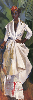 Woman In White II Canvas Print by Boscoe Holder