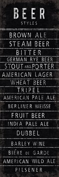 Beer Styles - Blackboard Print by The Vintage Collection