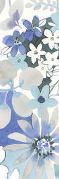 Aqua Flowers - Panel Print by Sandra Jacobs